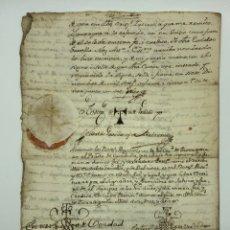Manuscritos antiguos: DOCUMENTO MANUSCRITO SELLO LACRE AÑO 1785 TARRAGONA. Lote 200032002