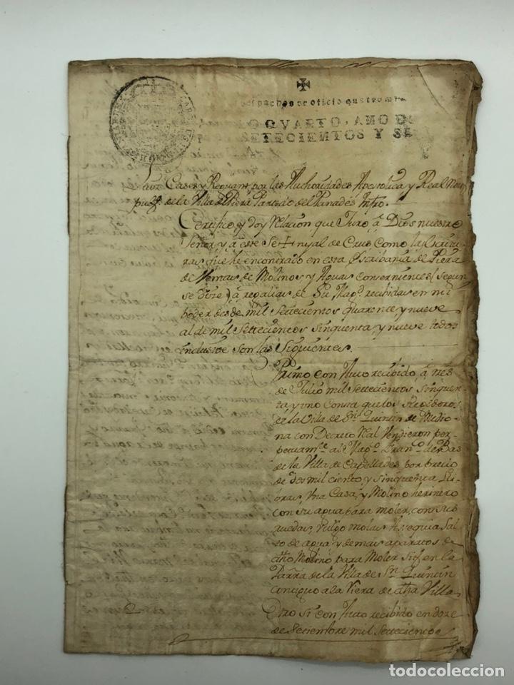 DOCUMENTO MANUSCRITO FISCAL AÑO 1760 RELACIONADO CON UNA CASA Y MOLINO (Coleccionismo - Documentos - Manuscritos)