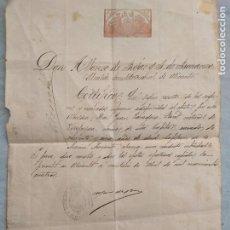 Manuscritos antiguos: ANTIGUO CERTIFICADO MANUSCRITO ALCALDE ALFONSO DE ROJAS DE ALICANTE 1903 A 1905 MUY RARO. Lote 200047092