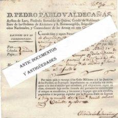 Manoscritti antichi: AÑO 1822. LUCENA. PEDRO PABLO VALDECAÑAS. CASTAÑOS. CÓRDOBA. CONDE. ARISTOCRACIA.. Lote 200069408