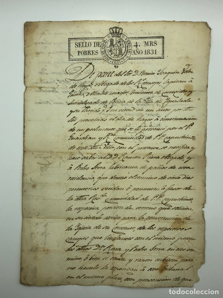 DOCUMENTO MANUSCRITO AÑO 1831 IGUALADA FIRMADO BENITO JOAQUÍN VÉLEZ DE HOYOS (Coleccionismo - Documentos - Manuscritos)