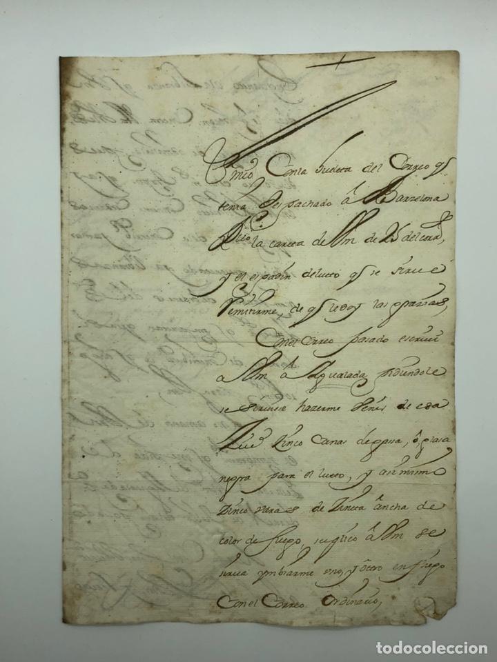 CARTA MANUSCRITA CURIOSA CALIGRAFÍA TARRAGONA AÑO 1715 (Coleccionismo - Documentos - Manuscritos)