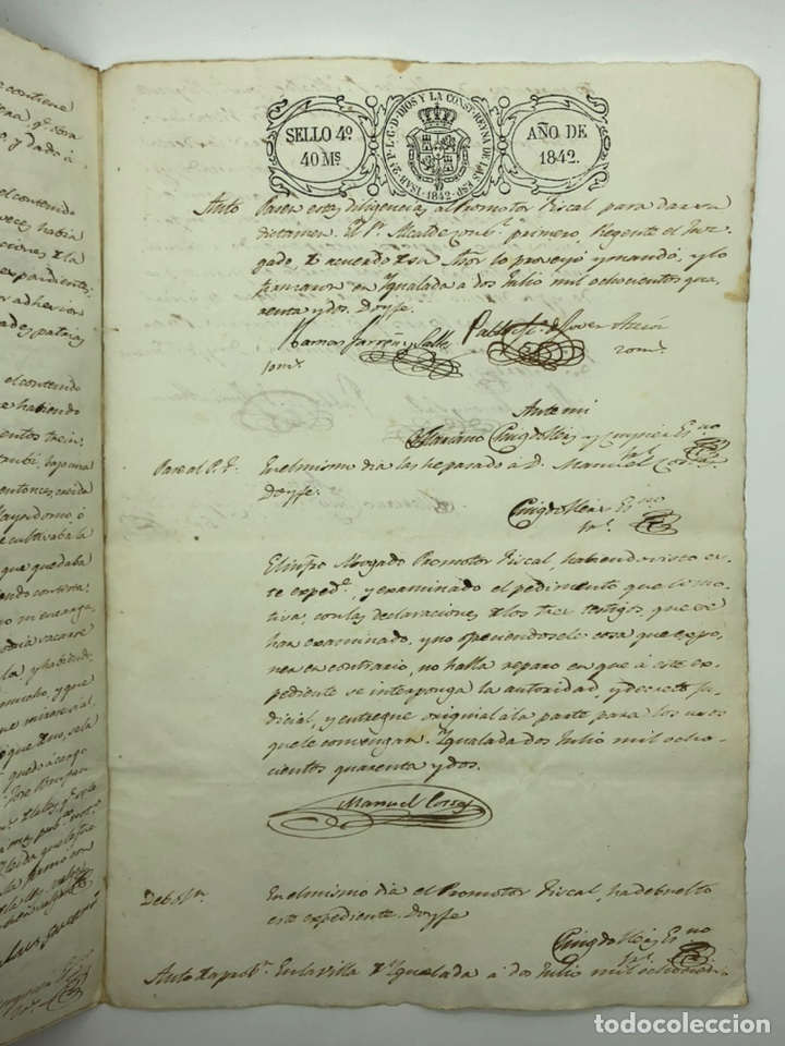 Manuscritos antiguos: Documento manuscrito múltiple firmas año 1842 - Foto 7 - 200185107