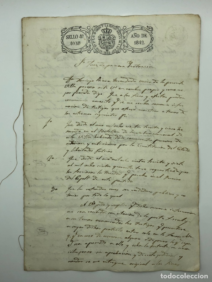 Manuscritos antiguos: Documento manuscrito múltiple firmas año 1842 - Foto 1 - 200185107