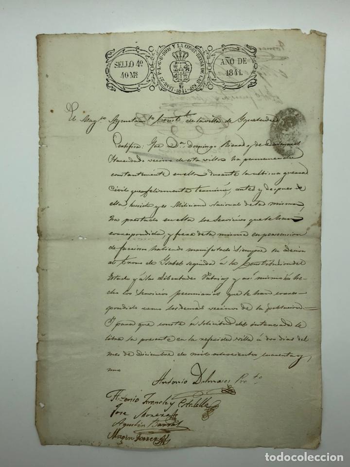 DOCUMENTO MANUSCRITO AYUNTAMIENTO AÑO 1841 MÚLTIPLES FIRMAS (Coleccionismo - Documentos - Manuscritos)
