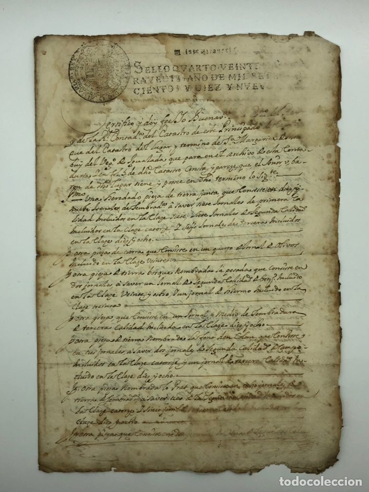 DOCUMENTO MANUSCRITO SELLO FISCAL IGUALADA AÑO 1719 (Coleccionismo - Documentos - Manuscritos)