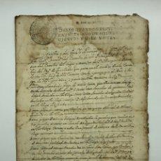 Manuscritos antiguos: DOCUMENTO MANUSCRITO SELLO FISCAL IGUALADA AÑO 1719. Lote 200185611