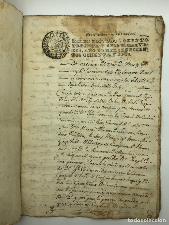 DOCUMENTO MANUSCRITO SELLO FISCAL AÑO 1786 (Coleccionismo - Documentos - Manuscritos)
