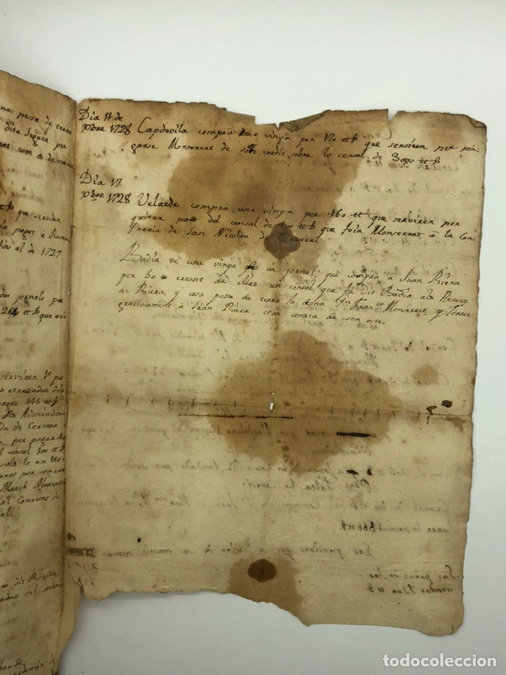 Manuscritos antiguos: Manuscrito licencia año 1728 - Foto 3 - 200186213