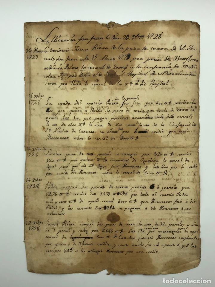 MANUSCRITO LICENCIA AÑO 1728 (Coleccionismo - Documentos - Manuscritos)