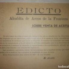 Manuscritos antiguos: DOCUMENTO EDICTO SOBRE VENTA DE LA ACEITUNA. Lote 200186237