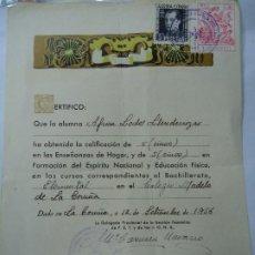 Manuscritos antiguos: CERTIFICADO ORIGINAL CON SELLOS DE LA FALANGE TRADICIONALISTA Y DE LAS J.O.N.S. LA CORUÑA 1956. Lote 200547637