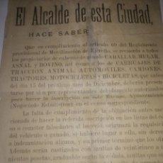Manuscritos antiguos: DOCUMENTO ANTIGUO EL ALCALDE DE ESTA CIUDAD HACE SABER. SEBASTIAN CARRASCO RUIZ. Lote 200599570