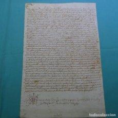 Manuscritos antiguos: MANUSCRITO SOBRE PIEL.SANT FELIU DE GUIXOLS.EN CATALÁN.MUY ANTIGUO.. Lote 200871501