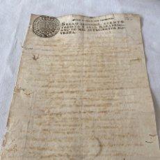 Manuscritos antiguos: CARLOS IV 1790 SELLO SEGUNDO CIENTO TREINTA Y SEIS MARAVEDIS. Lote 201490140