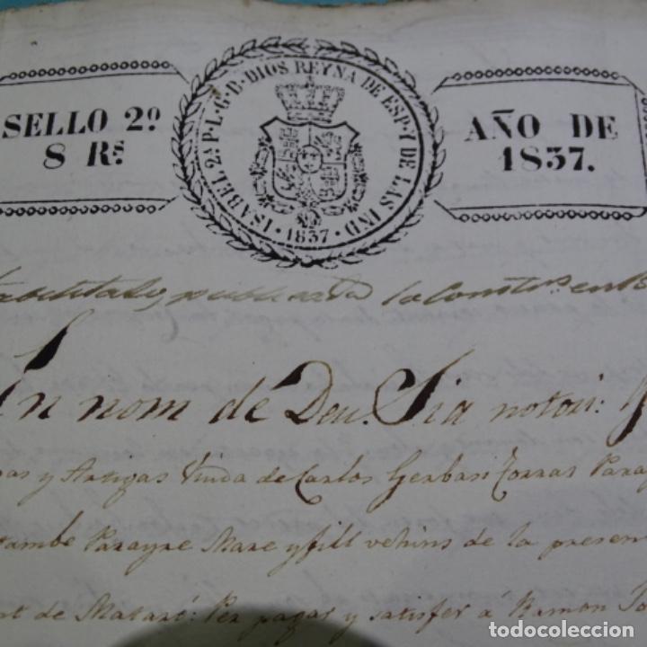 Manuscritos antiguos: Manuscrito escritura de 1837.venta en sabadell.arbitrios de amortización de Mataró.7 hojas. - Foto 3 - 201561490