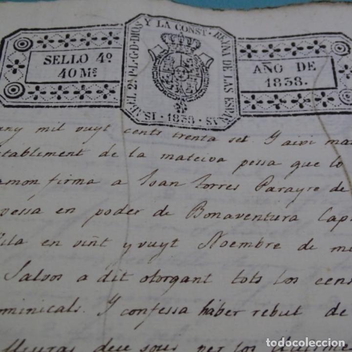 Manuscritos antiguos: Manuscrito escritura de 1837.venta en sabadell.arbitrios de amortización de Mataró.7 hojas. - Foto 7 - 201561490