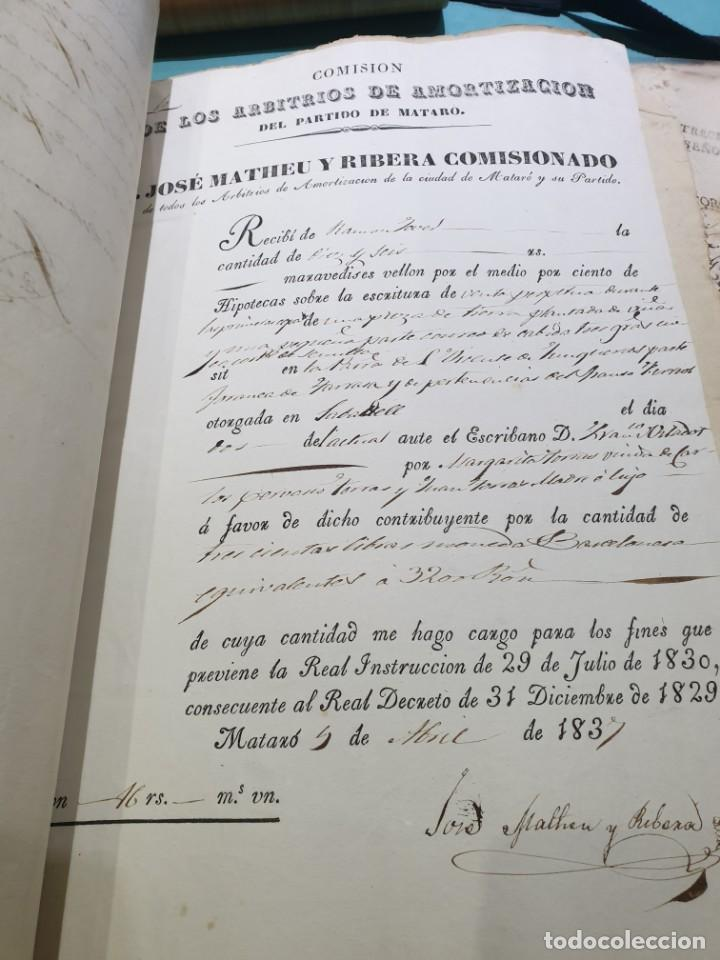 Manuscritos antiguos: Manuscrito escritura de 1837.venta en sabadell.arbitrios de amortización de Mataró.7 hojas. - Foto 9 - 201561490