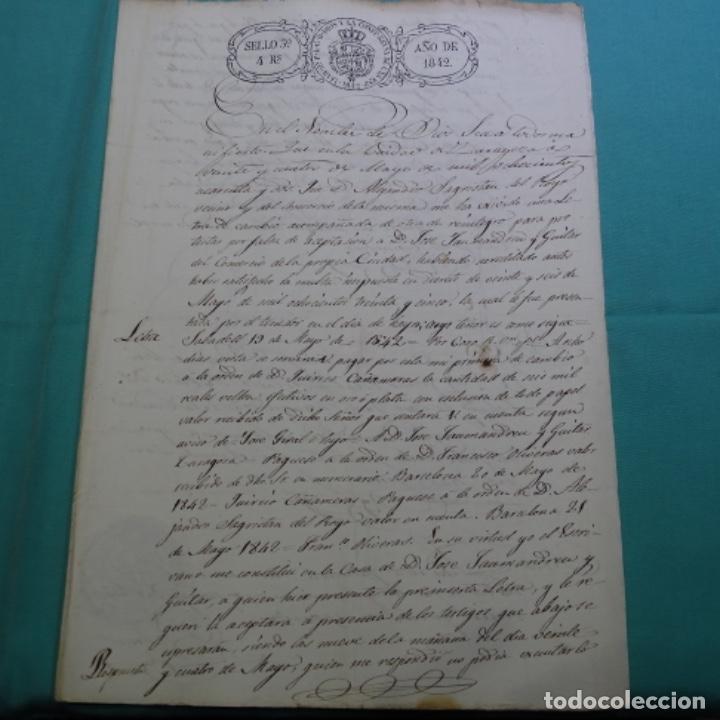 MANUSCRITO 1842.SELLO DE ESCRIVANOS REALES DE ZARAGOZA.2 HOJAS. (Coleccionismo - Documentos - Manuscritos)