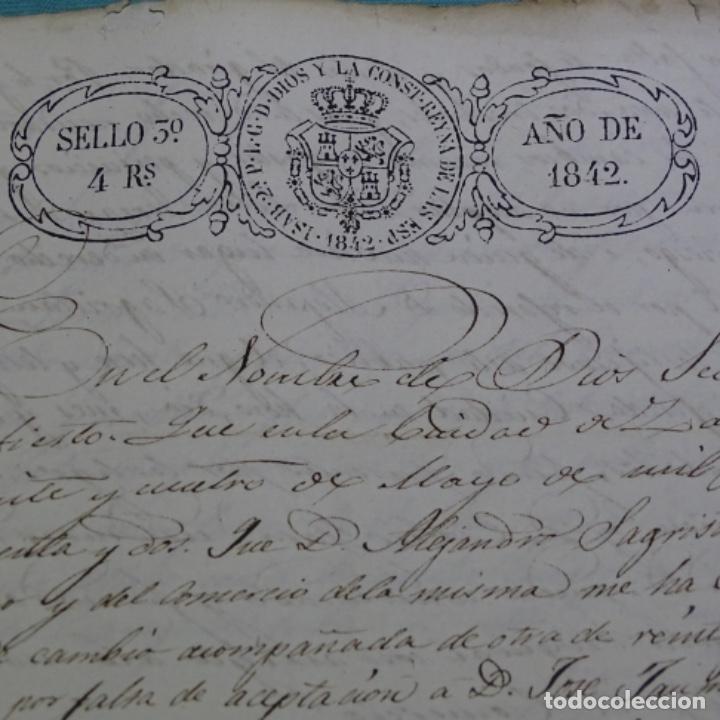 Manuscritos antiguos: Manuscrito 1842.sello de escrivanos reales de zaragoza.2 hojas. - Foto 2 - 201562060