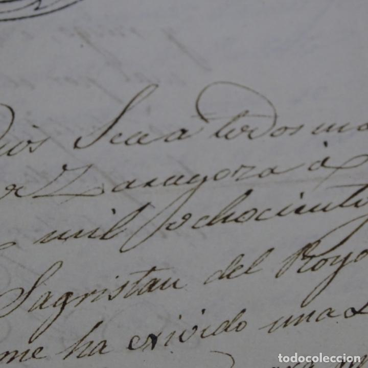 Manuscritos antiguos: Manuscrito 1842.sello de escrivanos reales de zaragoza.2 hojas. - Foto 3 - 201562060
