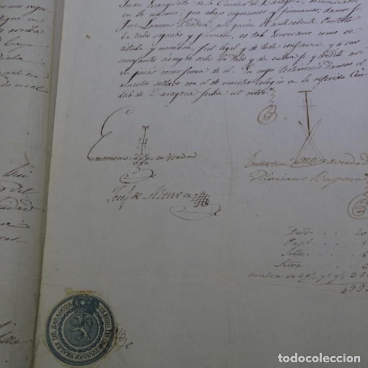 Manuscritos antiguos: Manuscrito 1842.sello de escrivanos reales de zaragoza.2 hojas. - Foto 5 - 201562060