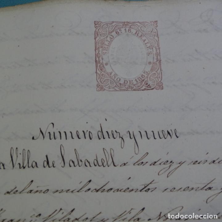 Manuscritos antiguos: Manuscrito débitorio en sabadell año 1865.6 hojas - Foto 3 - 201562360