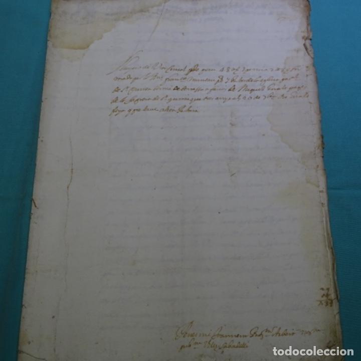 MANUSCRITO AUTOS DE SABADELL AÑO 1715.PRINCIPADO DE CATALUÑA.4HOJAS (Coleccionismo - Documentos - Manuscritos)