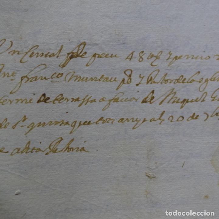 Manuscritos antiguos: Manuscrito autos de sabadell año 1715.principado de Cataluña.4hojas - Foto 2 - 201562846