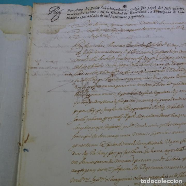 Manuscritos antiguos: Manuscrito autos de sabadell año 1715.principado de Cataluña.4hojas - Foto 3 - 201562846