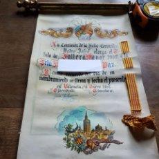 Manuscritos antiguos: PERGAMINO FALLERA MAYOR 1962 FALLA CERVANTES. Lote 201670918