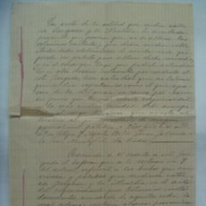 Manuscritos antiguos: DOCUMENTO MANUSCRITO DE UN PLEITO DEL AYUNTAMIENTO, ETC . LA RODA , 1905 .... 5 FOLIOS. Lote 201780327
