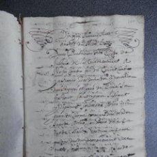 Manuscritos antiguos: MANUSCRITO AÑO 1649 ONTENIENTE VALENCIA EXTENSO PLEITO DE 62 PÁGS DE UNA RELIGIOSA CARMELITA. Lote 201823258