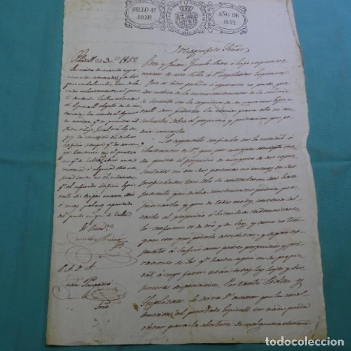 MANUSCRITO SELLO FISCAL 1842.ISABEL II.SABADELL.UNA HOJA. (Coleccionismo - Documentos - Manuscritos)