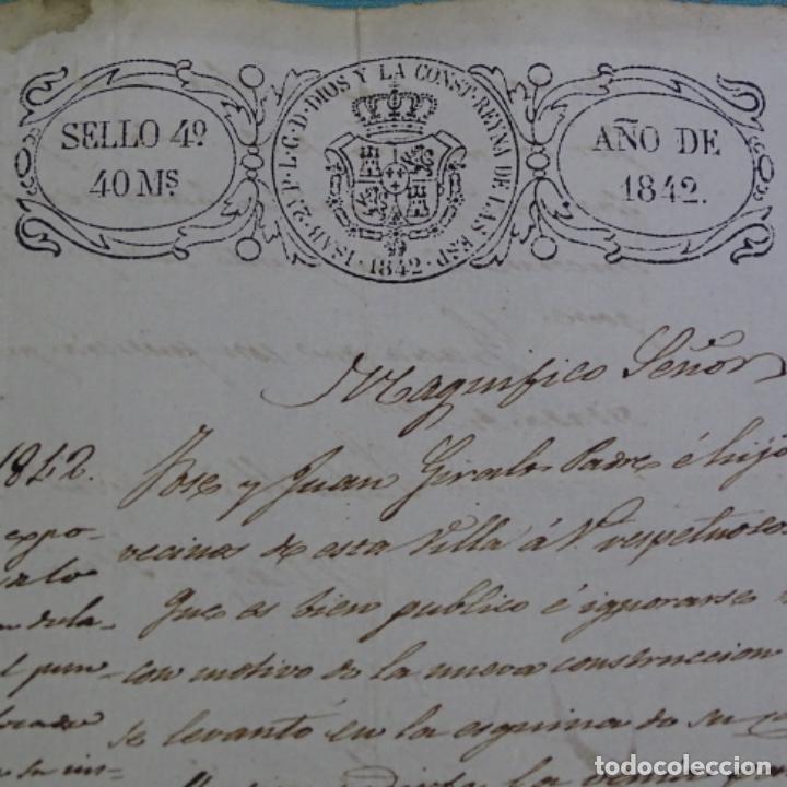 Manuscritos antiguos: Manuscrito Sello fiscal 1842.isabel ii.sabadell.una hoja. - Foto 2 - 201939258