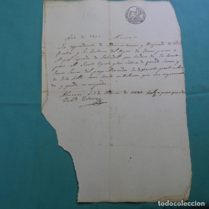 MANUSCRITO SELLO FISCAL 1847.ISABEL II.SABADELL.UNA HOJA. (Coleccionismo - Documentos - Manuscritos)