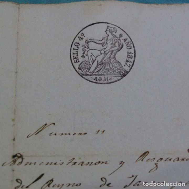 Manuscritos antiguos: Manuscrito Sello fiscal 1847.isabel ii.sabadell.una hoja. - Foto 2 - 201939300
