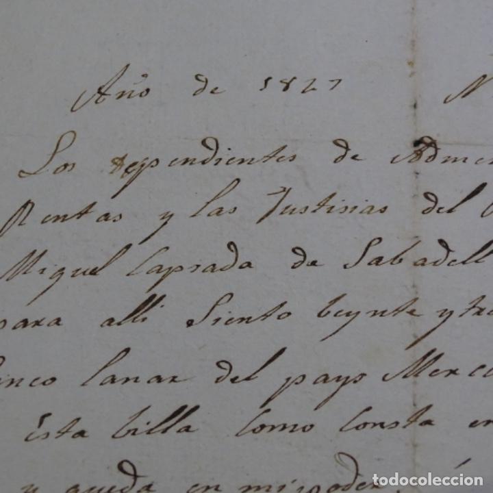 Manuscritos antiguos: Manuscrito Sello fiscal 1847.isabel ii.sabadell.una hoja. - Foto 4 - 201939300