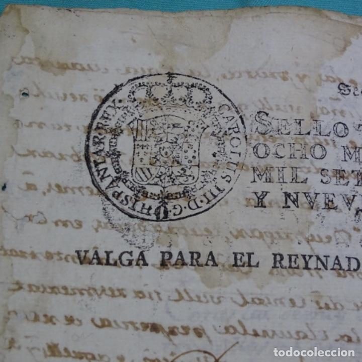 Manuscritos antiguos: manuscrito sello fiscal Carlos iv 1789.2 hojas.poliña-sabadell. - Foto 2 - 201941116
