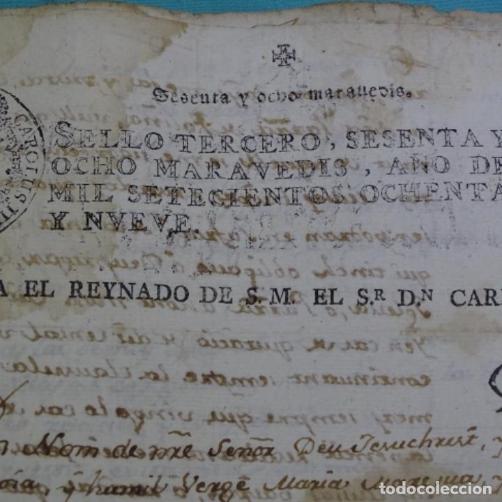 Manuscritos antiguos: manuscrito sello fiscal Carlos iv 1789.2 hojas.poliña-sabadell. - Foto 3 - 201941116