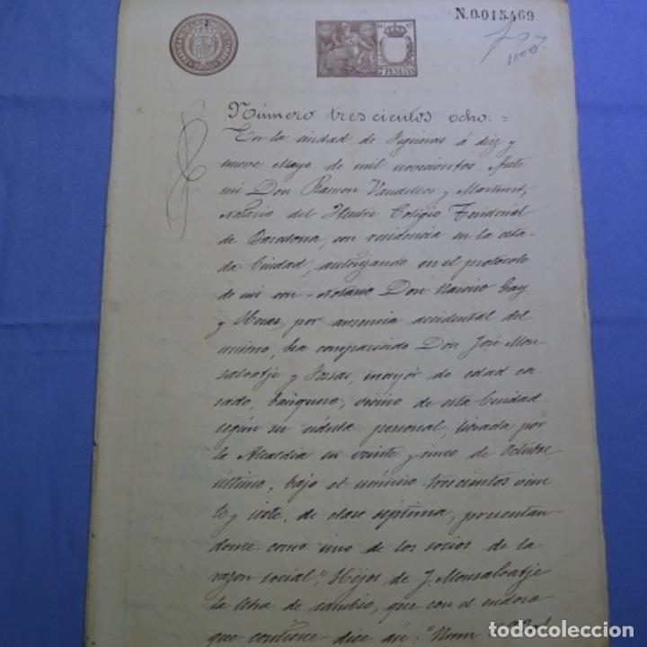 MANUSCRITO ESCRITURA MERCANTIL DE FIGUERAS(GIRONA) AÑO 1900.2 HOJAS. (Coleccionismo - Documentos - Manuscritos)