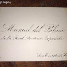 Manuscritos antiguos: LÉRIDA. TARJETA Y TEXTO MANUSCRITO DE MANUEL DEL PALACIO SIMÓ A EUSEBIO BLASCO. POETA SATÍRICO.. Lote 202468872
