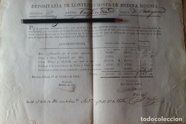 PAGO DE CONTRIBUCION DE MEDINA SIDONIA, CADIZ, AÑO DE 1.845 (Coleccionismo - Documentos - Manuscritos)