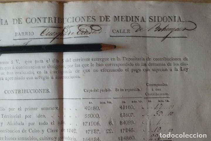 Manuscritos antiguos: PAGO DE CONTRIBUCION DE MEDINA SIDONIA, CADIZ, AÑO DE 1.845 - Foto 2 - 202603052