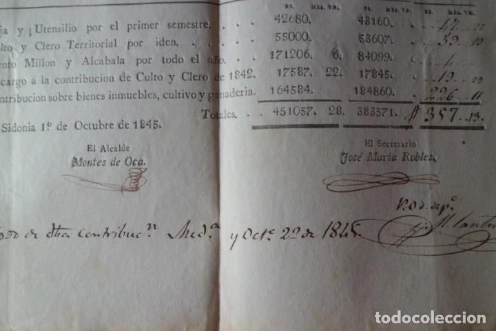 Manuscritos antiguos: PAGO DE CONTRIBUCION DE MEDINA SIDONIA, CADIZ, AÑO DE 1.845 - Foto 3 - 202603052