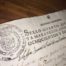 Manuscritos antiguos: SELLO CUARTO NAPOLEÓN 1810, HABILITACIÓN MANUSCRITA 1811.. Lote 203015741