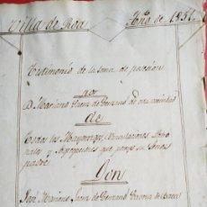 Manuscritos antiguos: MANUSCRITO POSESIÓN MAYORAZGO M SAENZ CENZANO Y J M S CENZANO CABEZA DE VACA 1851 ROA ( BURGOS). Lote 203075372