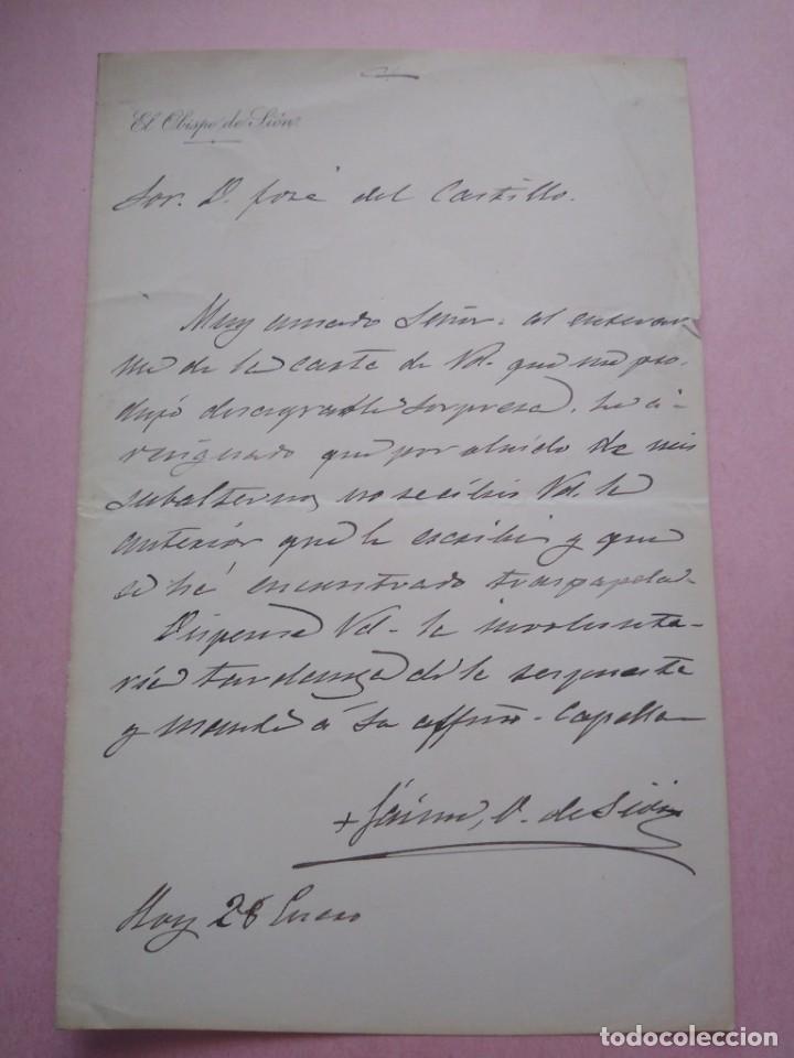CARTA MANUSCRITA CON FIRMA DE JAIME CARDONA Y TUR NACIDO EN IBIZA OBISPO SIÓN PRO VICARIO CASTRENSE. (Coleccionismo - Documentos - Manuscritos)