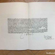 Manuscritos antiguos: FACSÍMIL: PRIVILEGIO JUAN II 1434 (PEREGRINOS SANTIAGO COMPOSTELA) LÁMINA JOYAS BIBLIOGRÁFICAS, 1965. Lote 175327965