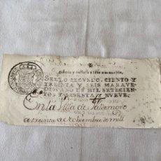 Manuscrits anciens: CARLOS III 1769 SELLO SEGUNDO CABECERA DE PLIEGO. Lote 203437608